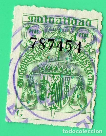 SELLO MUTUALIDAD MINISTERIO DE JUSTICIA 15 PTAS (Sellos - España - Estado Español - De 1.936 a 1.949 - Usados)