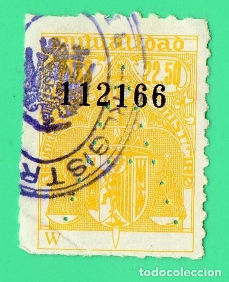 SELLO MUTUALIDAD MINISTERIO DE JUSTICIA 22,50 PTAS (Sellos - España - Estado Español - De 1.936 a 1.949 - Usados)