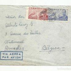 Sellos: CIRCULADA BLAU GRANA VIA AEREA 1947 DE MADRID BRUXELLES BELGICA. Lote 135320670