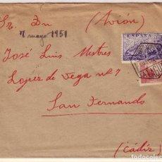 Sellos: CARTA DE LA LAGUNA A SAN FERNANDO, CON SELLO 944 Y 1045 MATASELLO AEREO LA LAGUNA. Lote 177334650