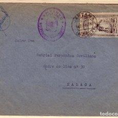 Sellos: CARTA DE CARTAMA A MALAGA, CON SELLO MUTUALIDAD Y MARCA DE FRANQUICIA. Lote 136126586