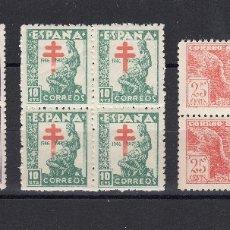 Sellos: 1946 EDIFIL 1008/1010** NUEVOS SIN CHARNELA. BLOQUE DE CUATRO. PRO TUBERCULOSOS. Lote 87091780