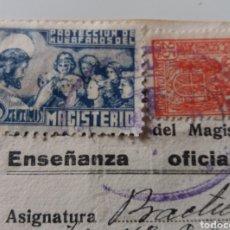 Sellos: 50 CÉNTIMOS. HUÉRFANOS MAGISTERIO. SOBRE DOCUMENTO 1941.. Lote 138069872