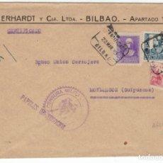 Sellos: CENSURA MILITAR BILBAO. CERTIFICADO. PAPELES DE NEGOCIOS. EDIFIL 818, 827 Y 855.. Lote 138699214