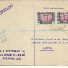 Sellos: 1940. PAREJA DE SELLOS DE 40 CTS EN CARTA CIRCULADA DESDE ZARAGOZA A MADRID. Lote 138829082