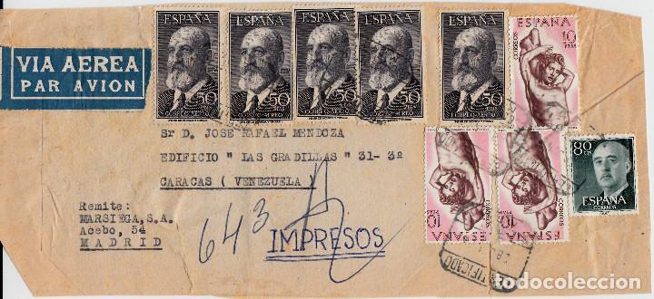 FRAGMENTO CERTIFICADO CON 5 SELLOS DEL NUM 1165 (QUEVEDO) DESTINO VENEZUELA (Sellos - España - Estado Español - De 1.936 a 1.949 - Cartas)
