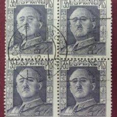 Sellos: ESPAÑA. CID Y GENERAL FRANCO, 1949-53. 1,35 PTS. VIOLETA (Nº 1061 EDIFIL). BLOQUE DE 4.. Lote 140370262