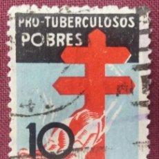 Sellos: ESPAÑA. PRO-TUBERCULOSOS, 1937. 10 CTS. NEGRO, AZUL Y ROJO (Nº 840 EDIFIL).. Lote 140374314