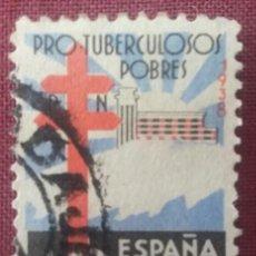 Sellos: ESPAÑA. PRO-TUBERCULOSOS, 1948. 10 CTS. NEGRO, AZUL Y ROJO (Nº 866 EDIFIL).. Lote 140384262