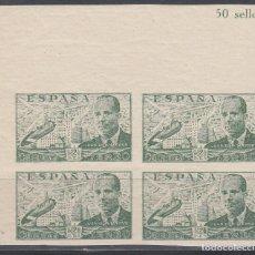 Sellos: ESPAÑA, 1940 EDIFIL Nº 945S /**/, BLOQUE DE CUATRO SIN DENTAR, . Lote 141484338