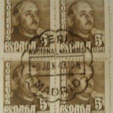 Sellos: GENERAL FRANCO, 1948. 5 CTS. CASTAÑO (Nº 1020 EDIFIL). BLOQUE DE 4 CON MATASELLOS COMEMORATIVO.. Lote 142863090