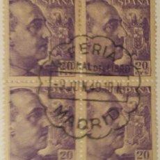 Sellos: GENERAL FRANCO, 1940-45. 20 CTS. VIOLETA (Nº 922 EDIFIL). BLOQUE DE 4 CON MATASELLOS COMEMORATIVO.. Lote 142863554