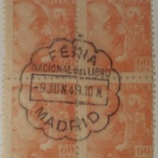 Sellos: GENERAL FRANCO, 1940-45. 60 CTS. NARANJA (Nº 928 EDIFIL). BLOQUE DE 4 CON MATASELLOS COMEMORATIVO.. Lote 142863742