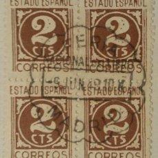 Sellos: CIFRAS Y CID, 1940. 2 CTS. CASTAÑO (Nº 915 EDIFIL). BLOQUE DE 4 CON MATASELLOS COMEMORATIVO.. Lote 142865574