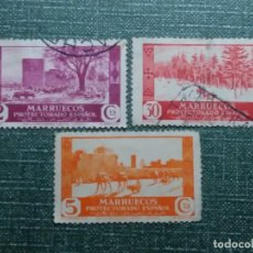 Sellos: 3 SELLOS CORREOS.MARRUECOS PROTECTORADO ESPAÑOL 5 CTS.1943 USADOS . Lote 142980314
