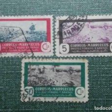 Sellos: 3 SELLOS CORREOS.MARRUECOS PROTECTORADO ESPAÑOL 10. 50. 5. CTS.1940 USADOS . Lote 142981826