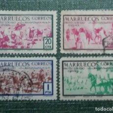 Sellos: 4 SELLOS CORREOS.MARRUECOS PROTECTORADO ESPAÑOL 1. 15. 10. 20. CTS.1940 USADOS . Lote 142982514