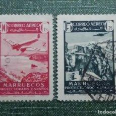 Sellos: 2 SELLOS CORREOS.AEREO MARRUECOS PROTECTORADO ESPAÑOL . CTS.1940 USADOS. Lote 142988522