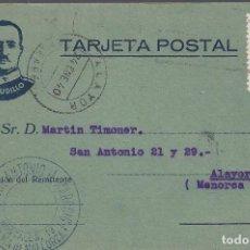 Sellos: TARJETA POSTAL PALMA DE MALLORCA A ALAYOR BALEARES MENORCA. Lote 143028774