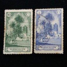 Sellos: 2 SELLO CORREOS PROTECTORADO ESPAÑOL MARRUECOS 10 CTS. AÑO 1940. USADOS. Lote 143163582