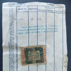 Sellos: SELLO FISCAL - SERVICIOS PROVINCIALES DE ABASTECIMIENTOS Y TRANSPORTES BARCELONA ...A754. Lote 144182770