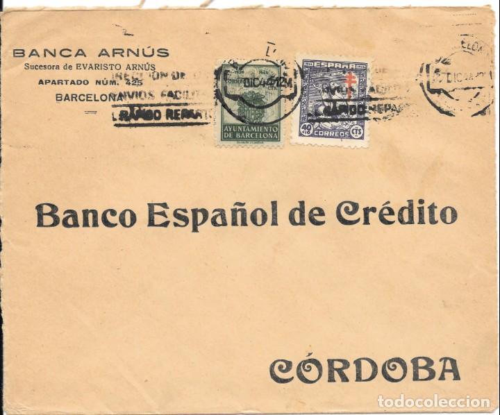 Sellos: PRO-TUBERCULOSOS. 3 CARTAS-FRONTALES. SELLOS DE 40 + 10 CTS. - Foto 3 - 146019294