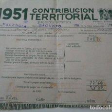 Sellos: SAGUNTO, VALENCIA. 1951. CONTRIBUCIÓN TERRITORIAL CON DOS VIÑETAS 25 CENTIMOS MONTEPIO.. Lote 146268834