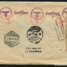 Sellos: SUIZA, SOBRE, POSTE AERIENNE, SUISSE A BARCELONA, VÍA GERMANY, 1944, LUFTPOST . Lote 146669338
