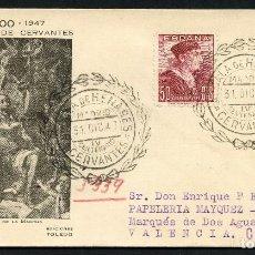 Sellos: SOBRE CONMEMORATIVO, MATASELLOS ESPECIAL, MIGUEL DE CERVANTES, 1947. Lote 146938642