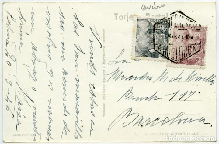 TARJETA POSTAL CIRCULADA MALLORCA A BARCELONA EN 1946, MATASELLOS CORREO AÉREO (Sellos - España - Estado Español - De 1.936 a 1.949 - Cartas)