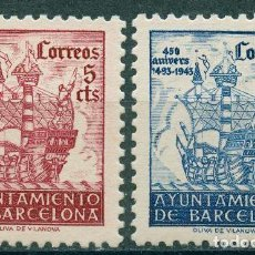Sellos: 1943 EDIFIL BARCELONA SH 51/52* 450 ANIVER. DE LA LLEGADA DE COLÓN A BARCELONA. Lote 148398426