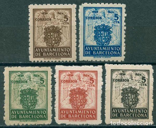1944 EDIFIL BARCELONA 55/59** - ESCUDOS NACIONAL Y DE LA CIUDAD (Sellos - España - Estado Español - De 1.936 a 1.949 - Nuevos)