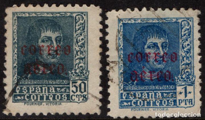 ESPAÑA 845/46 - AÑO 1938 - CORREO AÉREO - REY FERNANDO EL CATÓLICO (Sellos - España - Estado Español - De 1.936 a 1.949 - Usados)