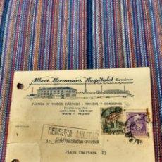Sellos: CARTA 1939 CENSURA PROPAGANDA ALBERT HERMANOS HOSPITALET FABRICA TEJIDOS. Lote 150782260