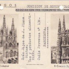 Sellos: TARJETA POSTAL: 1948 COMISION DE MONUMENTOS / ASOCIACION FOMENTO TURISMO BURGOS - BARCELONA. Lote 151098222