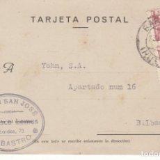 Sellos: TARJETA POSTAL: 1944 BAZAR SAN JOSE / BARBASTRO - BILBAO. Lote 151107470