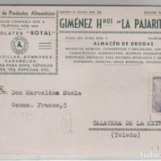 Sellos: GIMÉNEZ HERMANOS LA PAJARITA. SELLO PERFORADO. FÁBRICAS DE PRODUCTOS. CHOCOLATES ROYAL. Lote 154789946