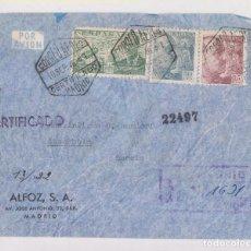 Sellos: SOBRE CERTIFICADO. MADRID. CORREO AÉREO A SUECIA. 1946. Lote 156663286