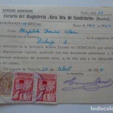 Sellos: ESCUELA MAGISTERIO NTRA. SRA. DE CANDELARIA. LA LAGUNA. TENERIFE. 1958. 2 VIÑETAS MUTUALIDAD 1 PTA. Lote 156686158