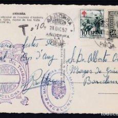 Sellos: POSTAL DE ANDORRA, FRANQUEADA CON SELLO ANDORRA Nº 50 Y PRO TUBERCULOSOS. Lote 156893230