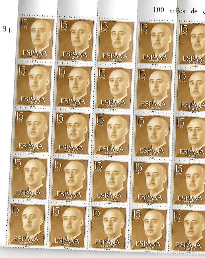 PLIEGO DE 100 SELLOS DE FRANCO DE 15 CÉNTIMOS (Sellos - España - Estado Español - De 1.936 a 1.949 - Nuevos)