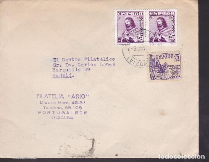 CM2-6- CARTA PORTUGALETE (VIZCAYA) . VÍCTIMAS DE GUERRA 1949 (Sellos - España - Estado Español - De 1.936 a 1.949 - Cartas)
