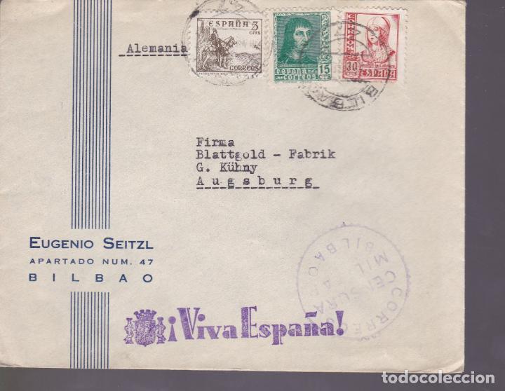 CM1-2- CARTA EUGENIO SEITZL BILBAO-ALEMANIA 1938. CENSURA . FRANQUEO TRICOLOR (Sellos - España - Estado Español - De 1.936 a 1.949 - Cartas)