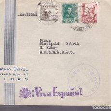 Sellos: CM1-2- CARTA EUGENIO SEITZL BILBAO-ALEMANIA 1938. CENSURA . FRANQUEO TRICOLOR. Lote 161018002