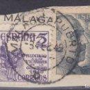Sellos: CC39- FRANCO + VICTIMAS , FRAGMENTO MATASELLOS MALAGA PUERTO. Lote 161361062