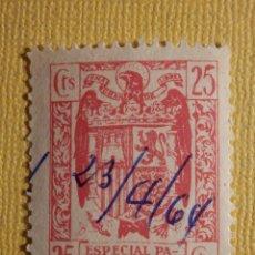 Sellos: SELLO - POLIZA - FISCAL - 25 CÉNTIMOS - ESPECIAL PARA FACTURAS Y RECIBOS - USADO - AÑOS 50´S. Lote 161419258