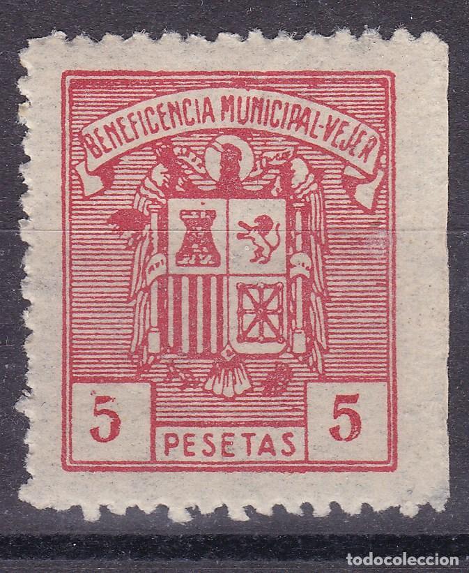 SS42- FISCALES BENEFICENCIA MUNICIPAL VEJER 5 PTAS ** SIN FIJASELLOS (Sellos - España - Estado Español - De 1.936 a 1.949 - Nuevos)