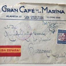 Sellos: SOBRE PATRIÓTICO GRAN CAFÉ DE LA MARINA - SAN SEBASTIÁN - CENSURA MILITAR IRÚN - A BARROMÁN - AVILA. Lote 162482210