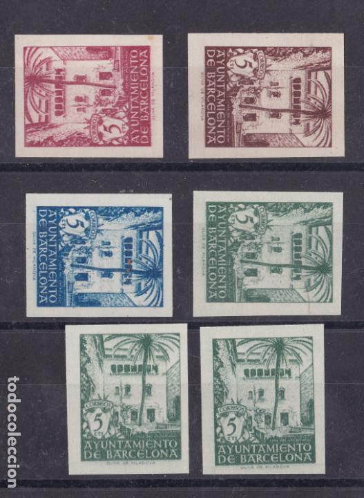 VV7- AYUNTAMIENTO BARCELONA EDIFIL 65S/68S. COMPLETA SIN DENTAR + 2 VALORES (*) SIN GOMA LUJO (Sellos - España - Estado Español - De 1.936 a 1.949 - Nuevos)