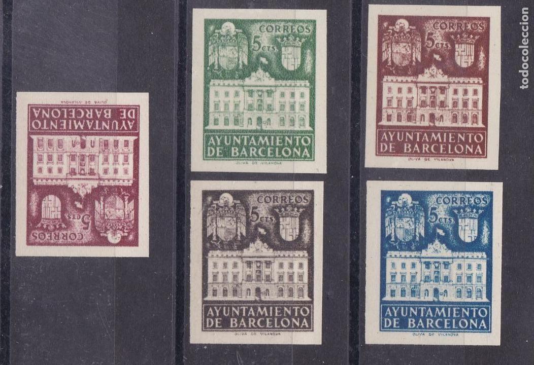 XX7-AYUNTAMIENTO BARCELONA EDIFIL 33S / 37S. SIN DENTAR . SIN GOMA . LUJO (Sellos - España - Estado Español - De 1.936 a 1.949 - Nuevos)